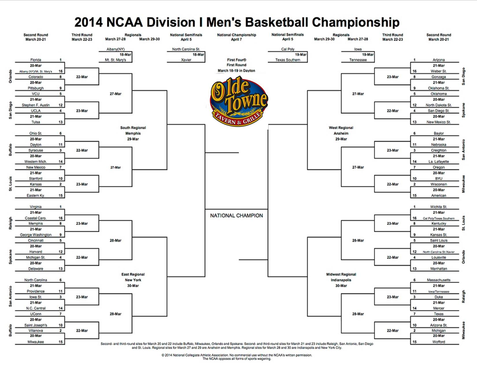 Pin In This Year S Printable Ncaa Tournament Brackets Run The Floor on ...